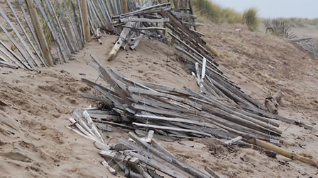 Wooden fencing was installed to stabilise sand dunes at Instow in March last year.