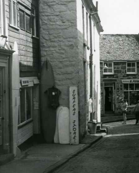 By Paul Knowles, showing Britain's first surf shop, Surfer's Store, that was opened in St Ives in 19