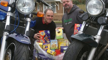 Dave Lemon and Mel Jones hope motorcyclists will join them on the Easter egg ride-out this Sunday.