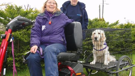 Wendy Hilling with Don Grove of North Devon REMAP, who made the adjustments to help her and Teddy ge
