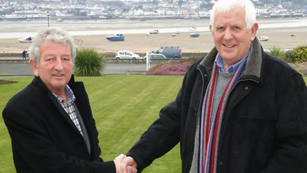 Instow Parish Council chairman Brian Moores thanks Roger Jacob, who is retiring after his 13 year te