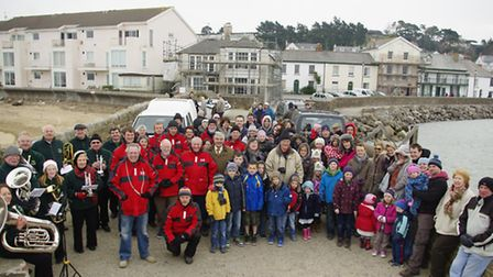 People in Instow welcome the ferry boats with crew. Pic by Graham Hobbs