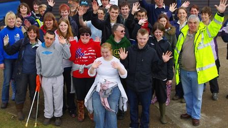 Cllr Andrew Eastman with Head Ranger Shawn Corin, Sallie McKay Roper from Tesco and volunteers from