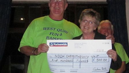 Roger Pullen of West Quay Fundraisers presenting a cheque to Barbara Roberts of the North Devon Dist
