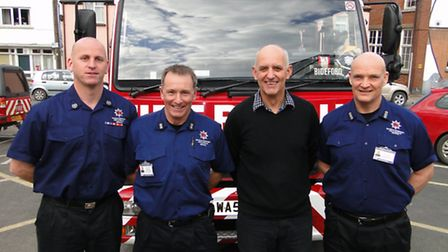 Graham Rooke, station manager; Neil Hole, watch commander; Kevin Parfitt, fire safety officer and Co