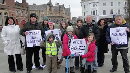 Some of the protesters gathered at the Square in Barnstaple this afternoon in opposition to the gove