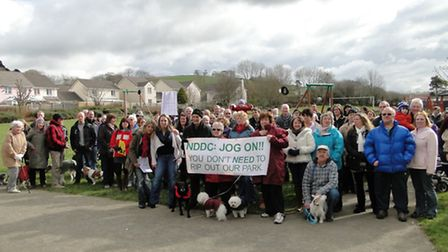 Protesters gathered in Whiddon Valley on Wednesday morning.