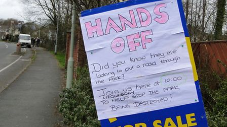 Residents placed signs all around the area to advertise the protest.