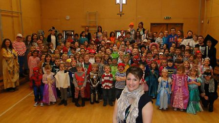 St Helen's Church of England Primary School dressed up for World Book Day, with head teacher Zoe Bat