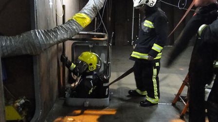 The fire crews training at Babcock Marine, Appledore, on Tuesday night.
