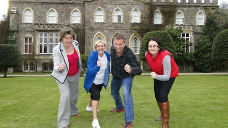 The Hartland Hartbreaker is launched outside Hartland Abbey, with Emma Perry and Marie Tippet of Chi