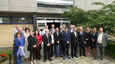 Supporters of North Devon Magistrates' Court, pictured in August 2012 when the court cuts were first