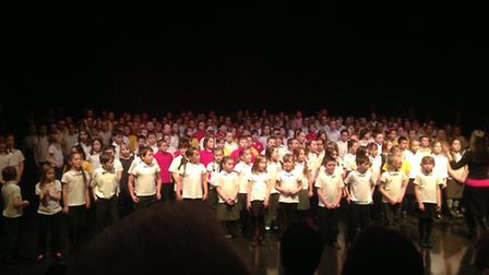 Pupils from eight Bideford primary schools sing at the annual choir festival.