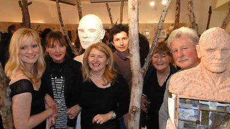 At the official launch of the new White Moose arts space in Barnstaple are artist Jane Churchill, or