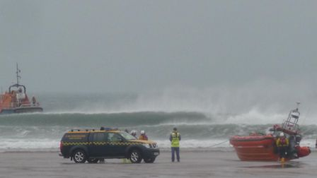 Appledore lifeboat was called to rescue two surfers off Woolacombe beach on Friday afternoon. Pic: T