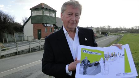 Rodney Cann with the project plans for the expansion of the heritage centre at Fremington Quay.