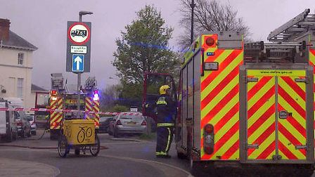 Firecrews cordoned off The Square in Barnstaple after being called to a fire in a flat.