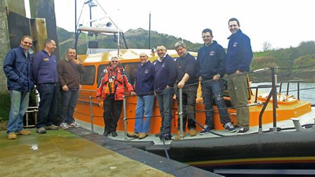 SOME of Ilfracombe's volunteer crew members aboard the Shannon class all-weather lifeboat. Picture: