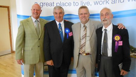 Newly elected county councillors at the Torridge count - Barry Parsons, Andrew Eastman, Andrew Boyd