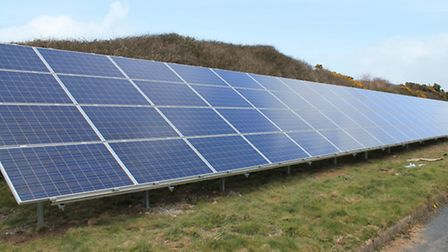 Picture shows solar panels at Woolacombe Sewage Treatment Works.