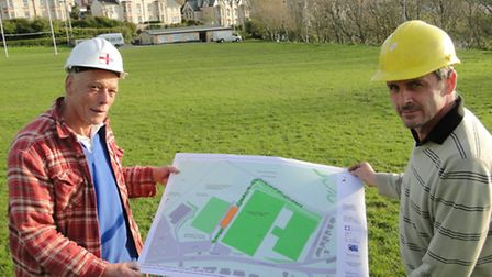 Ilfracombe Rugby Club chairman Miles Higginson and president Paul Crabb with plans for the proposed