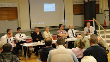 The panel listens during Thursday night's public consultation meeting on the Ilfracombe fire service
