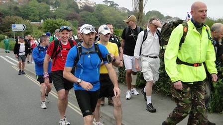 The Forces March entrants set off from Ilfracombe during last year's event'
