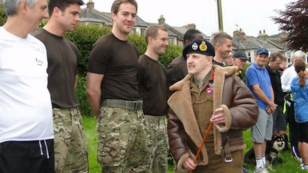 'Monty's Double' alias General Montgomery lookalike Colin Brooks-Williams inspects the troops before