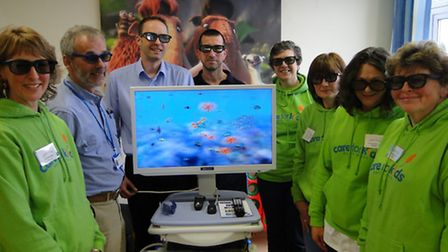 Pictured with the new 3D screen pain distraction system at the Caroline Thorpe children's ward are (