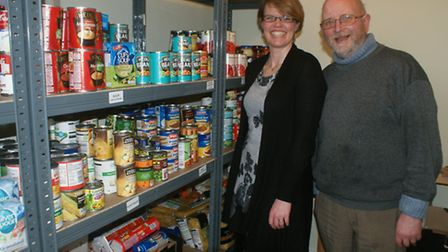 South Molton volunteer Ruth Williams and Northern Devon Foodbank project coordinator Duncan Withall