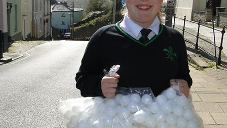 Olivia Treml, 14, will be releasing 1,000 ping pong balls from the top of Mill Street in Torrington.