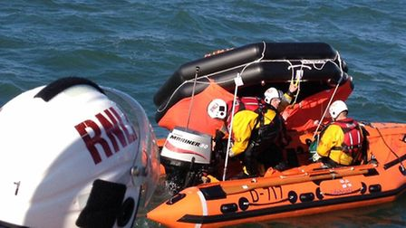 Ilfracombe RNLI's inshore lifeboat crew retrieved the drifting life raft. Picture: RNLI/Ilfracombe.