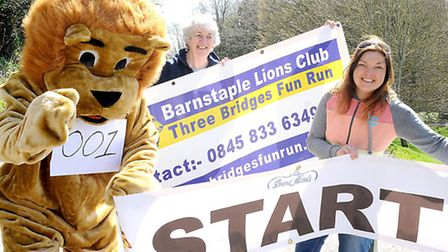 Calling contestants to the sixth annual Three Bridges Fun Run is the new Barnstaple Lions mascot, cl