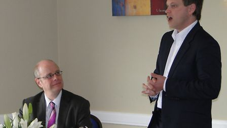 Conservative Party chairman Grant Shapps MP (right) and Peter Heaton-Jones, Prospective Parliamentar