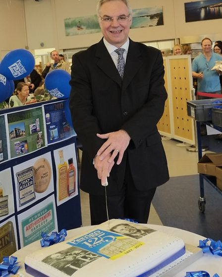 Pictured cutting the cake to make 125 years of Perrigo at its anniversary bash is managing director