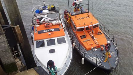 The Ilfracombe RNLI all-weather lifeboat Spirit of Derbyshire brings the lobster and crab potting bo
