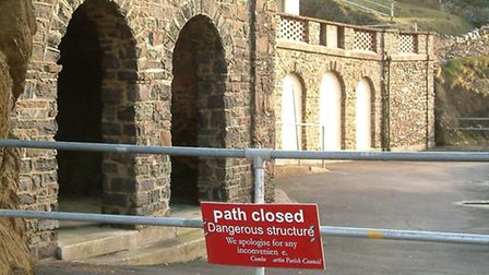 Newberry Parade at Combe Martin, closed for several years due to severe battering by wind and tide.