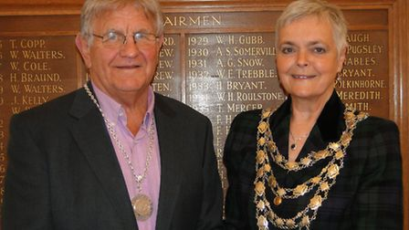 The Mayor of Ilfracombe Lynda Courtnadge and deputy mayor George Squires at the town council mayor m