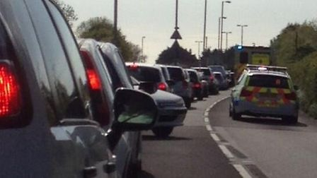 Rob McConnell posted this picture of the delay at Chivenor following this evening's multi vehicle co