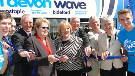 Barnstaple's deputy mayor Valerie Elkins and MD Michelle Hargreaves cut the ribbon with local dignit