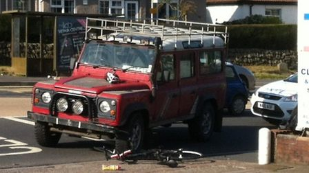 The scene after the collision between a Land Rover and cyclist at Sticklepath in Barnstaple on Monda