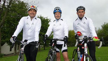 Actavis employees Gary Roberts, Keith Daniels and Phil Beasant get ready to take on the 300-mile cha