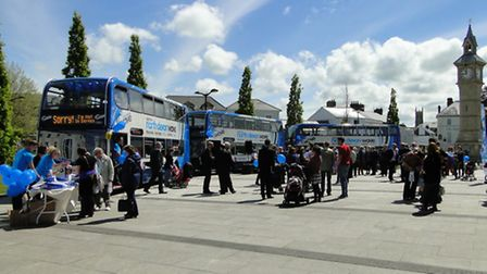 The sun shone as crowds gathered to admire the new buses.