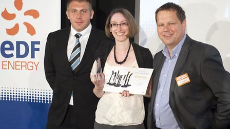 Midweek Herald reporter Katy Griffin collects the EDF Energy South West Media award at Sandy Park, E