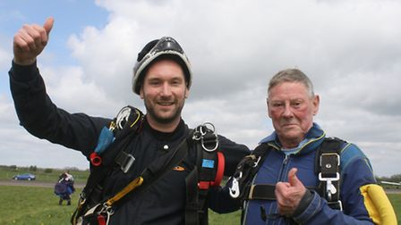 Children's Hospice South West supporter Ray Hales celebrated his 85th birthday by jumping out of an