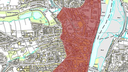 The area highlighted in red will be subject to the Section 30 order in Bideford town centre.