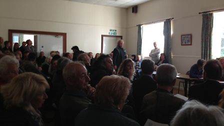 Hundreds of people packed into Bishops Tawton village hall on Thursday.