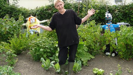 Susan Main with Gwendolyn and Derek at her allotment in Bideford.
