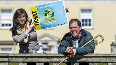 Emma Lowe of North Devon Hospice and Mortehoe shepherd David Kennard invite people to snap up ticket