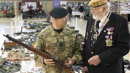 Pictured at the Kingsley exhibition on Saturday is Suez veteran and Bideford Royal British Legion ch